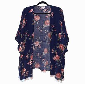 Umgee floral kimono kaftan open front lace. S/M